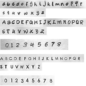 Schuiver 12 mm slagletteren van een naam of datum