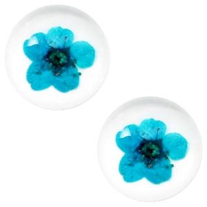 Schuiver 12 mm met echt gedroogd bloemetje Dark turquoise blue