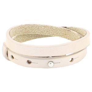 Dames armband dubbel Cream ivory beige