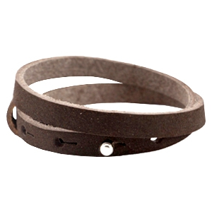Dames armband dubbel Dark chocolate brown