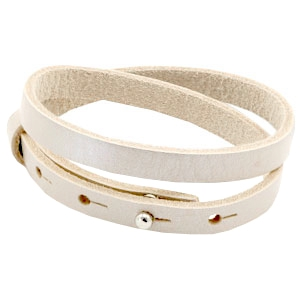 Dames armband dubbel Metallic white