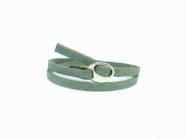 Meiden armband dubbel nubuck Grey