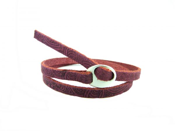 Meiden armband dubbel Mandala print light Aubergine Red