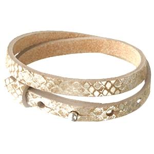 Dames armband dubbel snake Metallic khaki brown